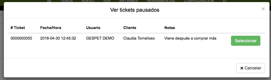 software tienda animal tickets