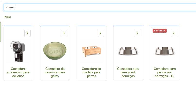 software tienda animales categorias y buscador de productos