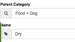configure pet products categories