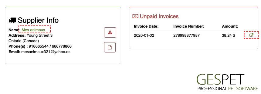 pet supplier unpaid invoices