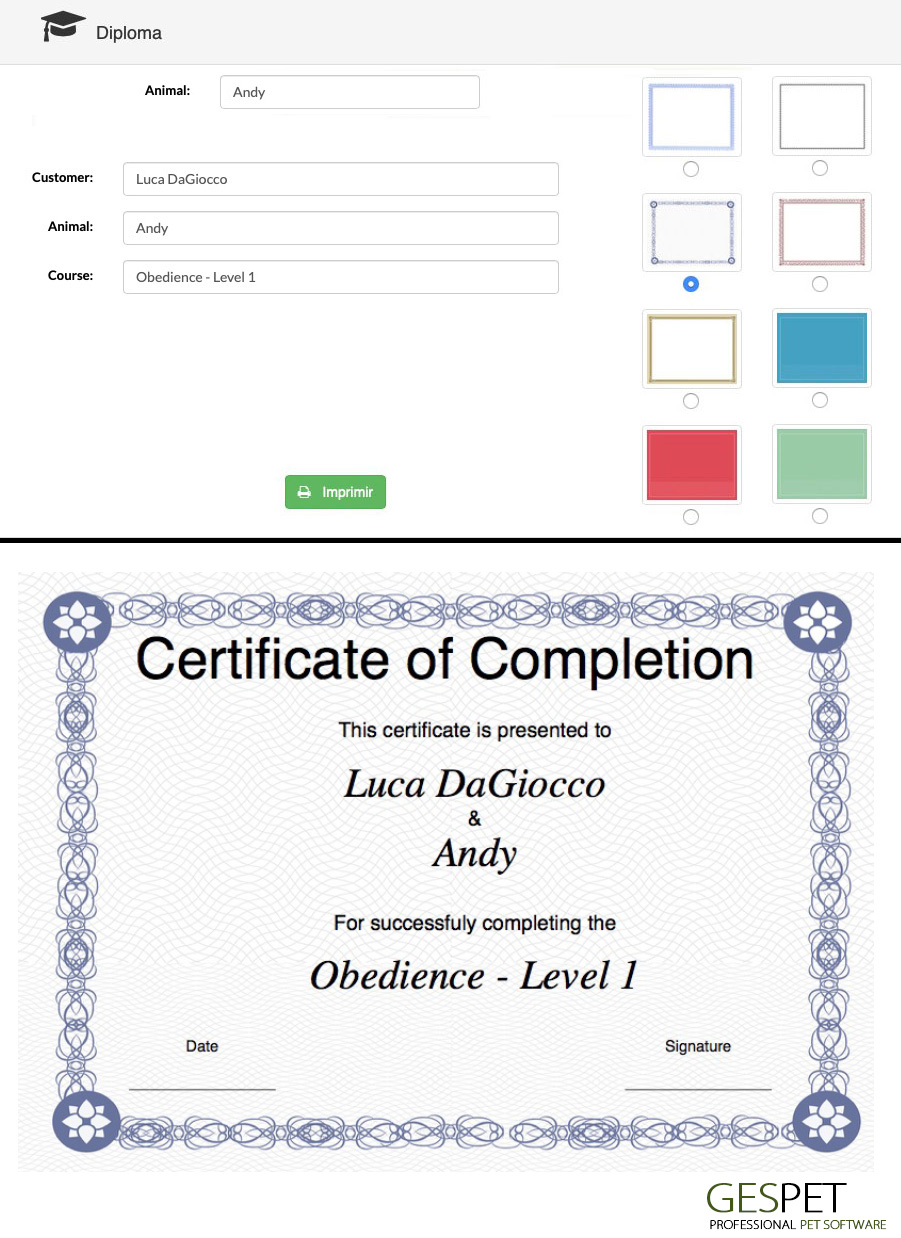 pet training certificate free template