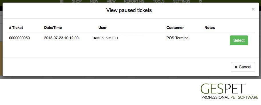 petshop app tickets POS terminal